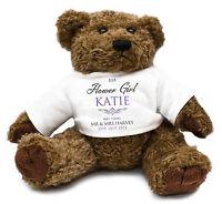 Personalised FLOWER GIRL Teddy Bear Thank you Gift idea Wedding present memento