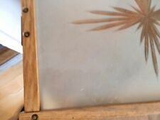 More details for art deco tray frosted glass wooden frame w handles vintage barware 1930s
