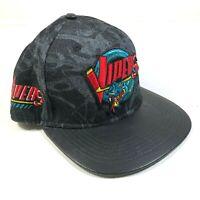 Retro Detroit Vipers IHL Leather Brim Black Denim Snapback Hat Cap Snake Logo