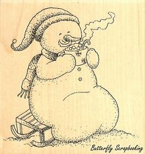 Snowman With Cocoa, Wood Mounted Rubber Stamp IMPRESSION OBSESSION - NEW, E11117