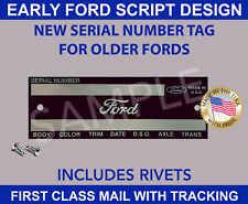 FORD DATA TAG CAR TRUCK PICKUP VINTAGE FORD SCRIPT DESIGN MADE IN U.S.A.