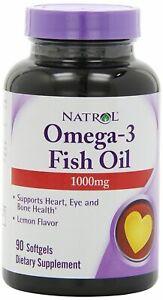 NATROL Omega 3 Fish Oil 1000mg High Strength 150 Soft Gels DHA EPA Lemon Flavour