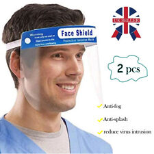 2 X Full Face Shield Covering Visor Mask Protection Splash Guard Safety Clear