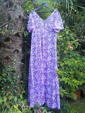 VINTAGE 1970s PURPLE/PINK/WHITE/SILVER SEQUIN MAXI EVENING PARTY DRESS - SIZE 24