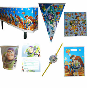 TOY STORY PARTY SUPPLIES BANNER TABLECOVER NAPKINS CUPS INVITES STRAWS PARTY BAG