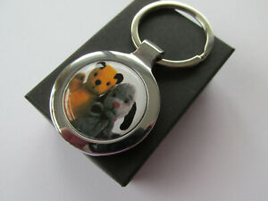 Sooty & Sweep Puppet Duo Inspired Print - Silver Finish Keyring Boxed Gift