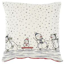 Christmas Cushion Cover Snowman Family Sledging Skating Grey 45cm Square