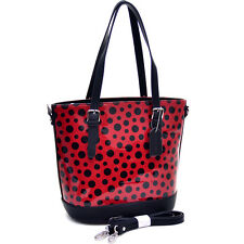 New Tall Handle Women Handbag Glossy Faux Leather Shoulder Bag Polka Dot Purse