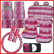Pink Leopard Safari Animal Car Seat Covers Accessories Complete Set -Full 14pc