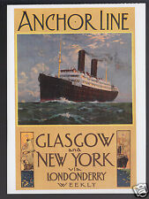 ANCHOR LINE Glasgow New York Londonderry Weekly TRAVEL POSTER REPRINT POSTCARD