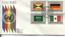 UNITED NATIONS NEW YORK FLAGS OF ALL NATIONS 4 FLAGS 1 COVER OFFICIAL U/A FDC