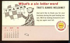 1958 SHELL CO HEATING OIL Vintage Thank You Advertising Postcard Smiling BEAR