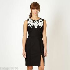 New Lipsy Black Mesh Applique Front Dress Sz UK 10 rrp £65