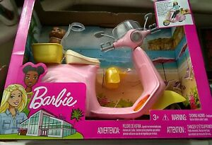 Barbie FRP56 Moped Pink Scooter for Doll with Puppy & Accessories Toy