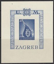 Croacia: 1942 croata Juventud Fondo Min hoja imperforado SG MS73b Estampillada sin montar
