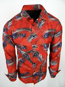 Red Abstract Floral Shirt Mens Slim Fit Designer Fashion Button Up Gold Foil