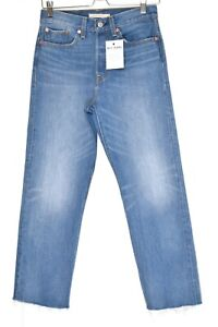 Womens Levis WEDGIE STRAIGHT High Rise Blue Cropped Jeans Size 8 W27