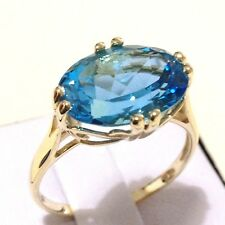 Real 9K Yellow Gold 7.25ct Oval cut Real Genuine Natural Swiss Blue Topaz Ring