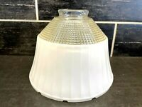 Vtg Glass Light Shade National Home Lamp Council No 954 Waffle Milk Glass Ribbed