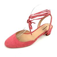 J. CREW Dahlia Neon Pink Suede Ankle Strap Heels Size 7.5 Made in Italy