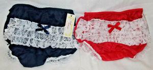 Boutique 2 Pair Blue Red White Lace Nylon Girls Ruffle Rumba Panties Panty Sz 6