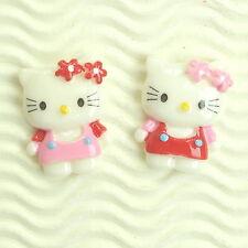 """US SELLER - 10 pcs x (1 1/8"""") Resin Kitty Flatbacks w/Flower Bow/Hello SB546A"""