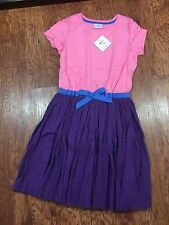 NWT Hanna Andersson Girls Pink Purple Whoosh Dress w/ Bow Size 160, US 14-16