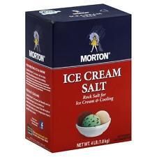 Lot of Two 4 lb. Boxes, MORTON ICE CREAM SALT (Rock Salt), FREE USA SHIPPING