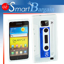 CASSETTE TAPE WHITE SILICONE SKIN CASE COVER FOR SAMSUNG i9100 GALAXY S2 + SP