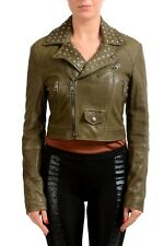 Just Cavalli Women's Olive Green Full Zip Leather Jacket US S IT 40
