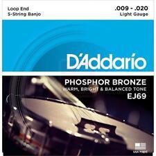 D'Addario EJ69 5-String Phosphor Bronze Banjo strings Loop End 9-20 gauge