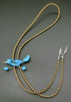 Turquoise Roadrunner Bird Handmade Feather Tips Southwest Vintage Bolo Tie