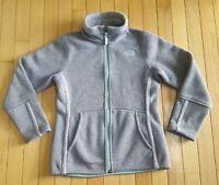 Girl's North Face 10/12 M Gray Green Jacket Sweater Full Zip EUC