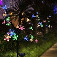 LED Glow Solar Powered Cherry Flowers Lights Garden Outdoor Yard Lawn Lamp Decor