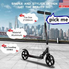 Kick Scooter Lightweight 2 Big Wheel Foldable Kids Adult Adjustable Black Ride
