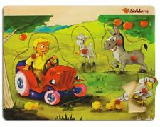 Eichhorn Baby Wooden Toy Pin Puzzle Farm Tractor Donkey Goat Chicken 8 parts