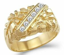 Solid 14k Yellow Gold Mens Heavy Fashion Nugget Ring