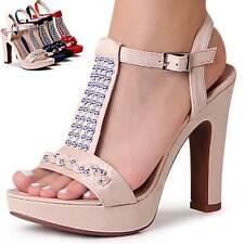 Mujer Sandalias con Plataforma Velours Tiras Zapatos de Tacón Sandalias