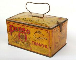 c.1910s Antique Pedro Cut Plug Smoking Tobacco Tin Litho Graphics - 08