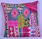 "16"" Pink Ikat Paisley Kantha Cushion Pillow Cover Indian Ethnic Throw Decor Art"