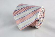 HOLLAND & SHERRY Silk Tie. Classic Pink & White with Blue Diagonal Stripes