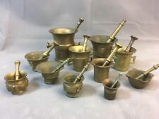 "Collection of 11 Miniature Antique Brass Mortar & Pestles 1"" - 3.25"""