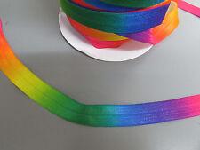 Rainbow Fold Over Elastic Ribbon 1.6cm x 1 Metre Sewing/Crafts/Cake