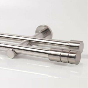 Edelstahl Look Gardinenstange Metall 20mm Zweiläufig 110-600cm (Zylinder lang 2)