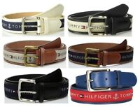 New Tommy Hilfiger Men's Casual Ribbon Inlay Anchor Logo Leather Belt 11TL02X032