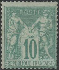 "FRANCE STAMP TIMBRE N° 65 "" SAGE 10c VERT TYPE I 1876 "" NEUF xx TB J915"