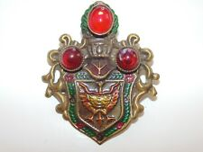 Vintage Costume Jewelry Rare Jelly Belly Royal Shape Crest Eagle Enamel Brooch