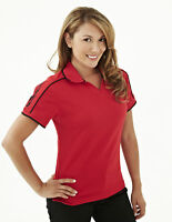 Tri-Mountain Women's Polyester Wick Contrast Collar Casual Polo T-Shirt. 204