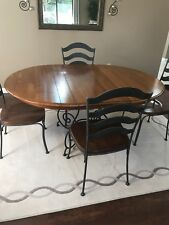 Ethan Allen Ding Room Round Table With Leaf And 4 Chairs