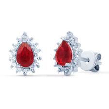 Orecchini di lusso con gemme rosse in oro bianco 18 carati